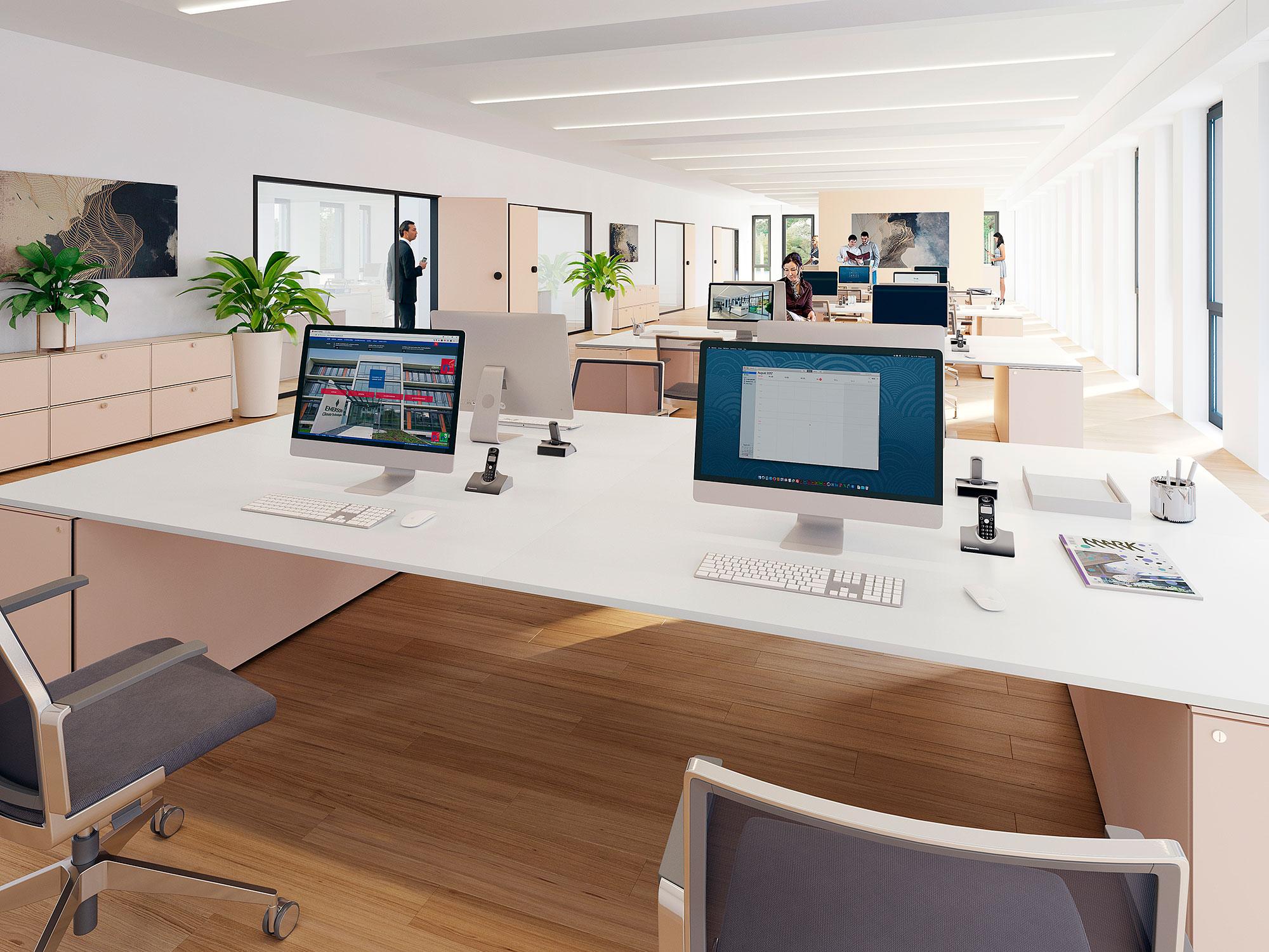Kombibüro, Open-Space, flexible-Arbeitsplätze, Großraum, stützenfrei, Teambüro, Gruppenbüro